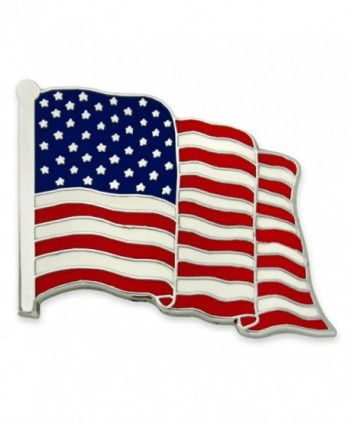 PinMart's Proudly Made in USA American Flag Jewelry Silver Enamel Lapel Pin - CE120824AWT