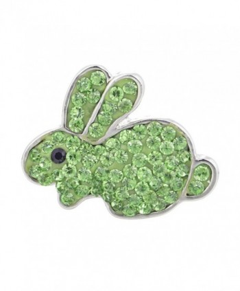 Ginger Snap Jewelry Vocheng 18mm Rabbit Crystal Button 2 Colors Vn-874 Pack of 2pcs - Green - CH1205M3SIF
