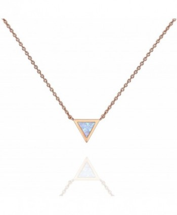 "PAVOI 14K Gold Plated Triangle Bezel Set Pink/White/Green/Blue Created Opal Necklace 16-18"" - Rose Gold - CV187H3R2WI"