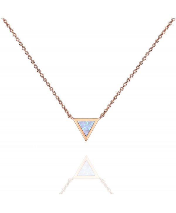 """PAVOI 14K Gold Plated Triangle Bezel Set Pink/White/Green/Blue Created Opal Necklace 16-18"""" - Rose Gold - CV187H3R2WI"""