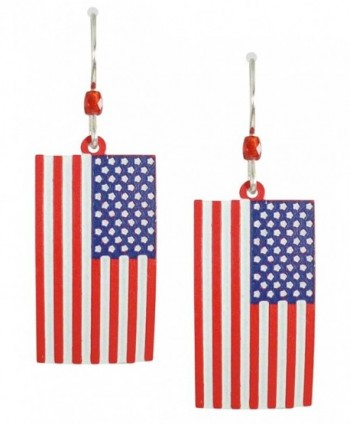 Sienna Sky American Flag Stars and Stripes Drop Earrings 907 - C211E1BLX9N