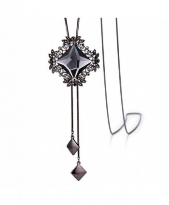 "Merdia Long Chain Necklace for Women Rhombus Pendant with Sparkly Glass Black-20""-42G - C3182EOUX0E"