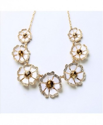 Flowers Statement Collar Necklace Rhinestone