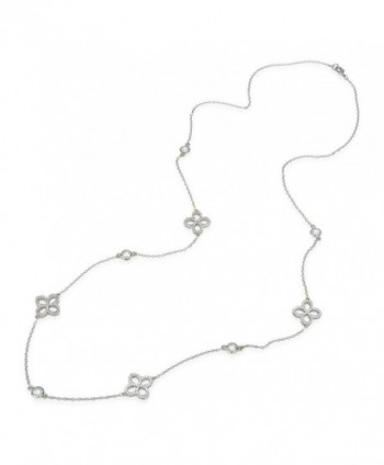 "Pave CZ Flower Charm with CZ chess cut Two Tone Long Strand Necklace 36"" - Silver Tone Only - C112MZR2MKF"