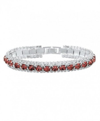 "Round Simulated Birthstone Accent Silvertone Tennis Bracelet 7"" - July - Simulated Ruby - CQ11Q7RXOKZ"