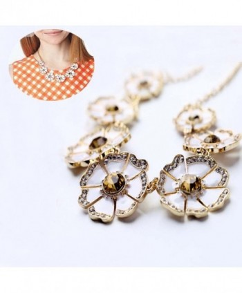 Flowers Statement Collar Necklace Rhinestone in Women's Choker Necklaces
