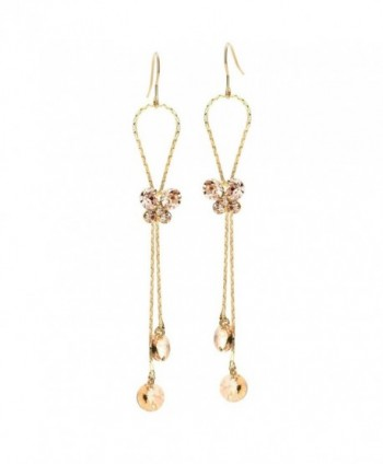 Neoglory 14k Gold Plated Rhinestone Yellow Drop Dangle Earring- Brown - CQ11QSYO0HD
