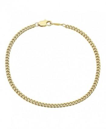 "3mm 14k Gold Plated Flat Cuban Link Chain or Bracelet - 7""8""9""16""18""20""22""24""30""36"" + Polishing Cloth - CJ12JXAVWS7"