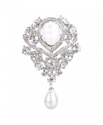 FANZE Women's Simulated Pearl Austrian Crystal Double Teardrop Nobleness Wedding Bridal Brooch - CG183NAGE94