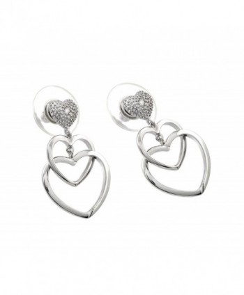 Sterling Silver Rhodium Plated Double Heart Dangling Earrings With Cz Stud Heart Accent - CW11GX1UPXT