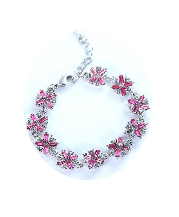 Sterling Silver Plated Swarovski Crystal Tennis Bangle Bracelet Cubic Zirconia Flower Bracelets for Women - CM187DKGNIT