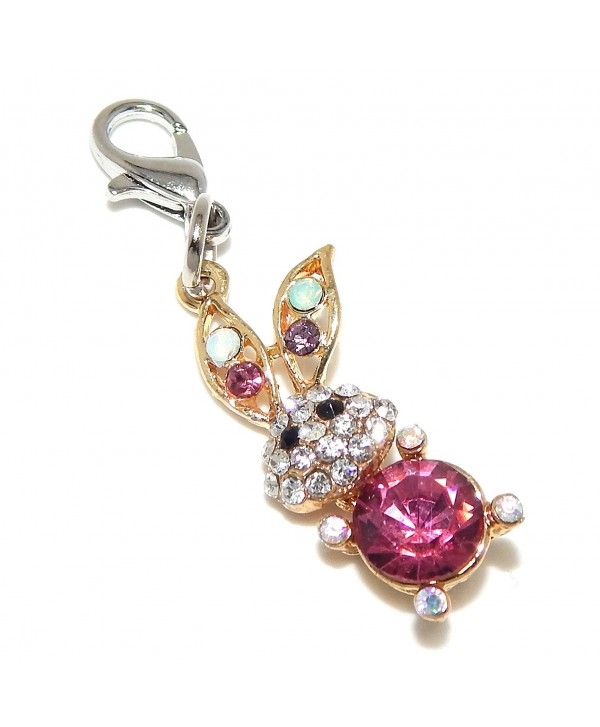 """Jewelry Monster Clip-on Gold Tone """"Rabbit with Multi-colored Crystals"""" Charm Bead B60283 - CO125W0NDKD"""