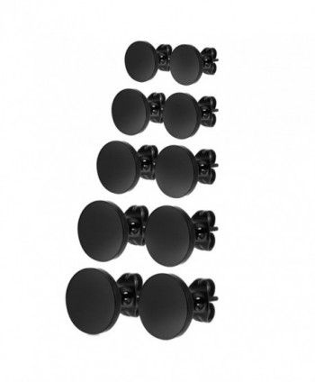 Charisma Stainless Illusion Tunnel Earrings - 02) Round Black x 5 Pairs - CR125JV9XOF