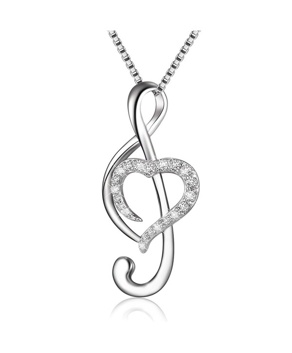 "925 Sterling Silver Music Note Love Heart Necklace Pendant- Box Chain 18"" - C0184Q5TS0I"