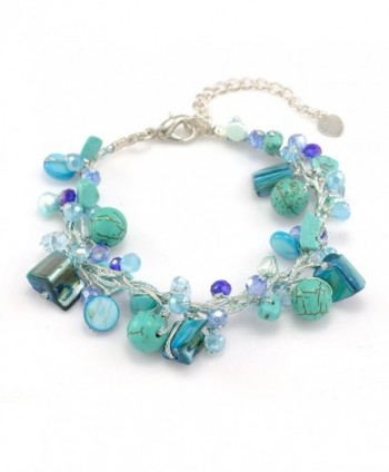 "Silk Thread Mother of Pearl Freshwater Pearl Gemstones Handmade Bracelet 7""-9"" - Blue - CK124UCJSSF"
