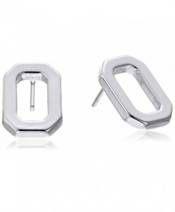 T Tahari Polished Open Rectangle Stud Earrings - Silver - CJ12K60CDPP
