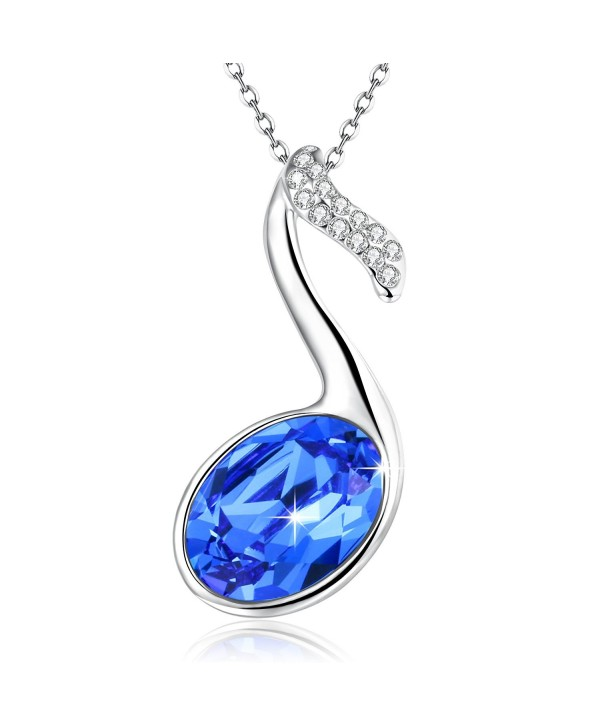 Angealdy Pendant Necklace Swarovski birthday - Blue - CC184QZE94H