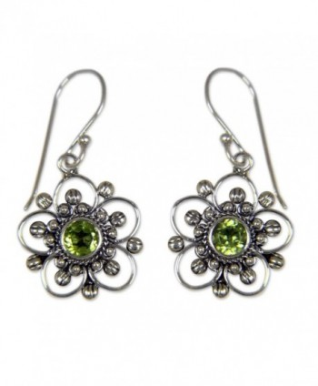 NOVICA 925 Sterling Silver and Peridot Flower Dangle Earrings- 'Nature's Gift' - CS182G92ZOD