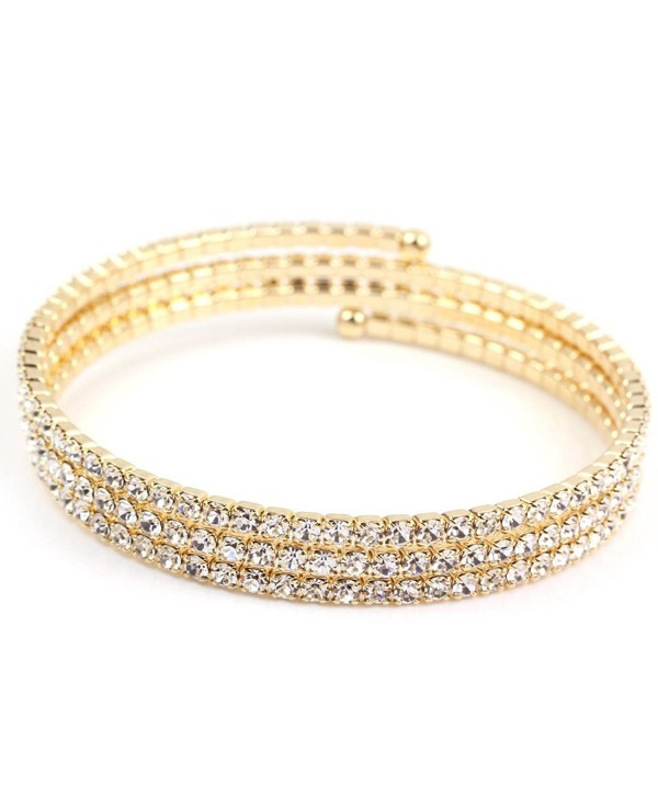 FC JORY Rose/Yellow Gold/Rhodium Plated Round Cut CZ Tennis Adjustable Wrap Bracelet - Gold - CQ11VS5H6RN