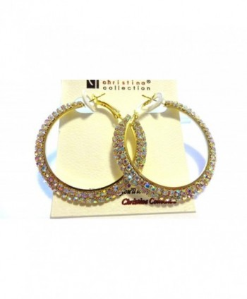 Crystal Iridescent Rhinestone Hoop Earrings 2 Inch Hoops Crystal Gold tone Hoop Earrings - CP12E6IWS3P