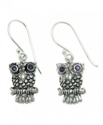 NOVICA Sterling Silver Owl Dangle Earrings with Amethyst Eyes- 'Baby Owl' - C611G3XHFH1