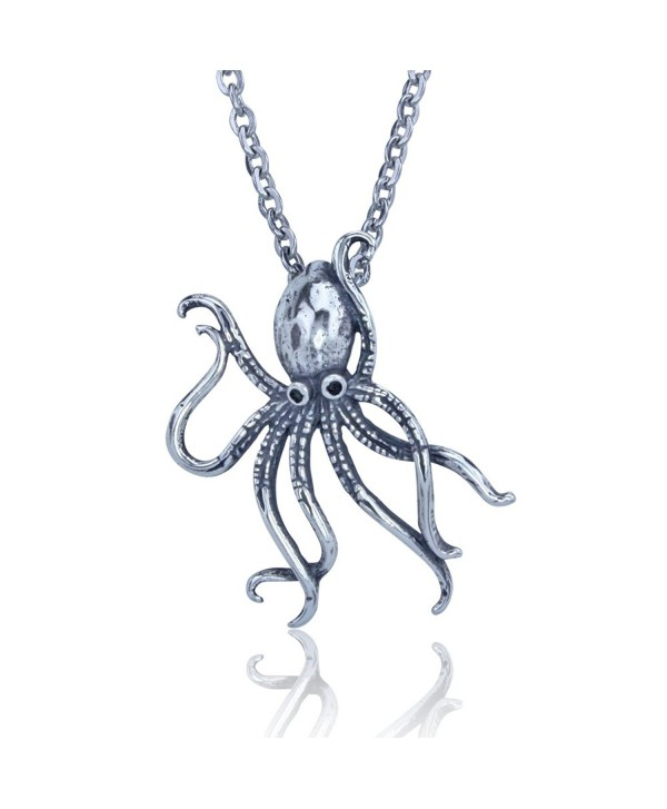 Octopus Pendant in Sterling Silver on an18 Inch Stainless Steel Chain - C211FU0N2LB
