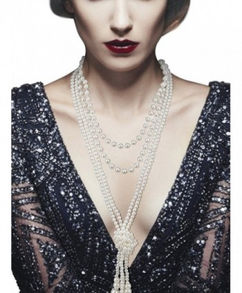 VAMEI Pearls Necklace Strand Vintage Long Knot 1920s Gatsby Party Costume Accessories Women Mother's Day - CN18CCG5MGG