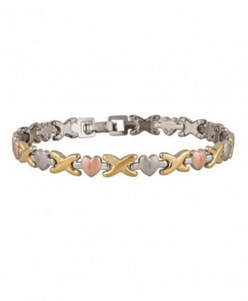 Bracelet For Women Hugs and Kisses Stainless Steel Tri Tone Stainless Steel - C011S2PCVOF