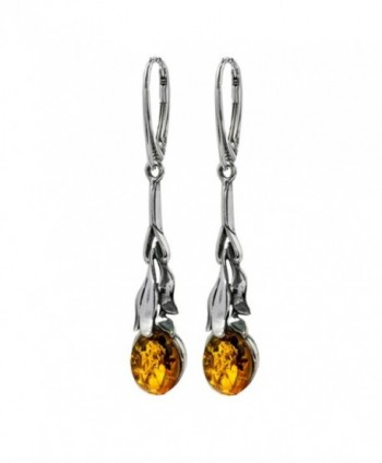 Honey Amber Sterling Silver Oval Floral Leverback Earrings - C2115VJ3EY1