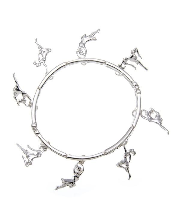 PammyJ Silvertone Dance Inspirational Charm Stretch Bracelet - CW11RQEICLT