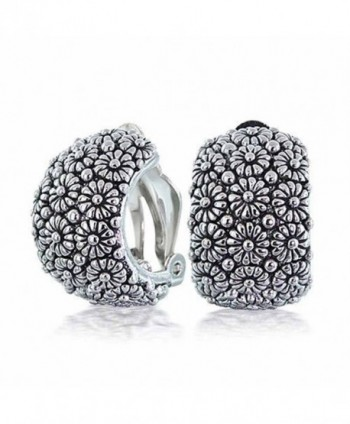 Bling Jewelry Sunflower Daisy Huggie Hoop Clip On Earrings Rhodium Plated Brass - CB1167C3LRV