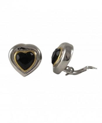 Isaac Kieran Two-tone Black Crystal Heart Clip-on Earrings - CE1269UPTJX