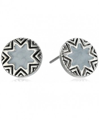 House of Harlow 1960 Womens Enameled Engraved Mini Sunburst Stud Earrings - Silver/Grey - CT12J3YT06Z