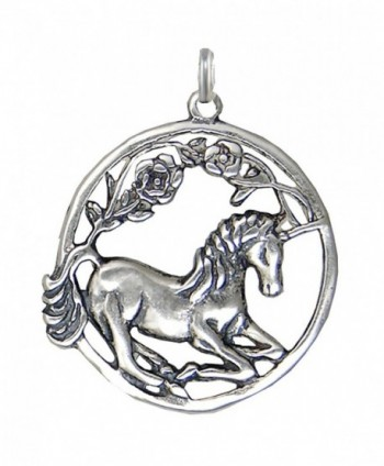 Sterling Silver Round Sitting Unicorn Charm - C8114FNNEYT