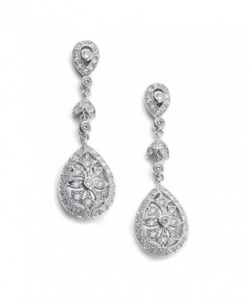 Mariell Vintage Etched Cubic Zirconia Bridal Earrings - Genuine Antique Platinum Plated Wedding Dangles - CZ121T31DGD