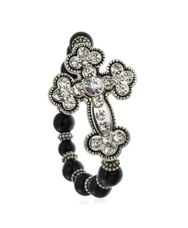 PammyJ Silvertone Clear Crystal Large Cross on Black Beaded Stretch Bracelet - CU12O7S928L