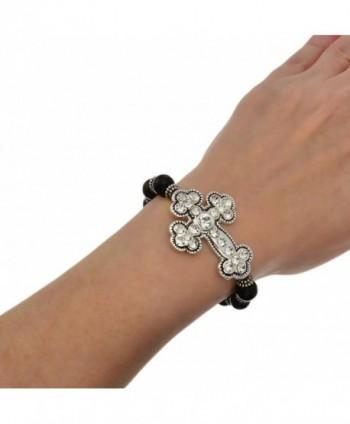PammyJ Silvertone Crystal Stretch Bracelet