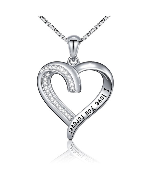 "S925 Sterling Silver "" I Love You Forever "" Pendant Necklace-Box Chain-18 inches - C317YIIZ2KZ"