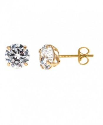 14k Solid Yellow Gold 7mm Cubic Zirconia Stud Earrings 3ct Basket Setting - C4119CU76TT