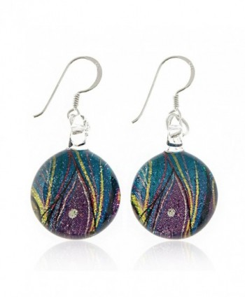 925 Sterling Silver Hand Painted Murano Glass Multi-colored Peacock Feather Round Dangle Earrings - C511WFH1MJL