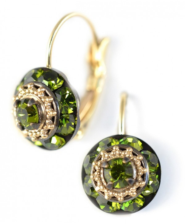 Clara Beau Elegant Green Olive Medium Rhondel swarovski crystal LeverBack earrings E149 GoldTone - Olive - CF17YIUH6T3