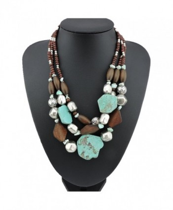 BOCAR Personalized Layered Strands Turquoise Statement Chunky Necklace for Women Gifts - CV12IFD1ZJZ