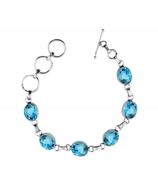 Genuine & Created Gemstone 925 Sterling Silver Overlay Handmade Fashion Bracelet Jewelry - Blue Topaz Quartz - C71867AN4C8