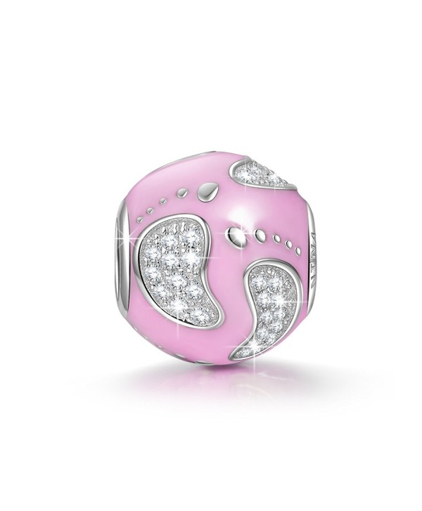 """NinaQueen """"Baby Feets"""" 925 Sterling Silver Pink Bead Charms - CH12GE0QG59"""