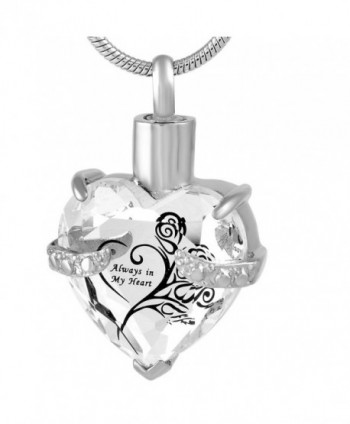 Always In My heart Crystal Necklace Stainless Steel Cremation Ashes Pendant Memorial Cremation Jewelry - CR1840Q3WTS