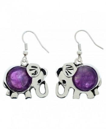 Lova Jewelry Elephant Earring - Amethyst Stone - CV12O1997WM