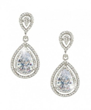 EVER FAITH Silver-Tone Wedding Teardrop Classic Earrings Clear CZ Crystal - CT11O5L2KRX