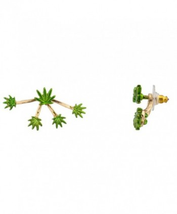 Lux Accessories Marijuana Weed 420 Pot Leaf Suspension Stud Earrings - CA123FINX9F