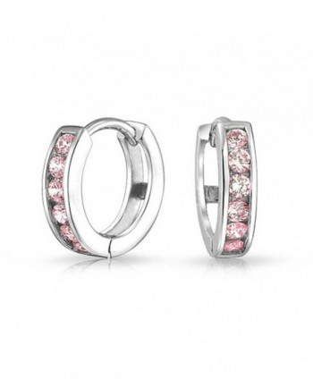 Bling Jewelry Simulated Pink Topaz CZ Sterling Silver Huggie Hoop Earrings - C511I35UEKH