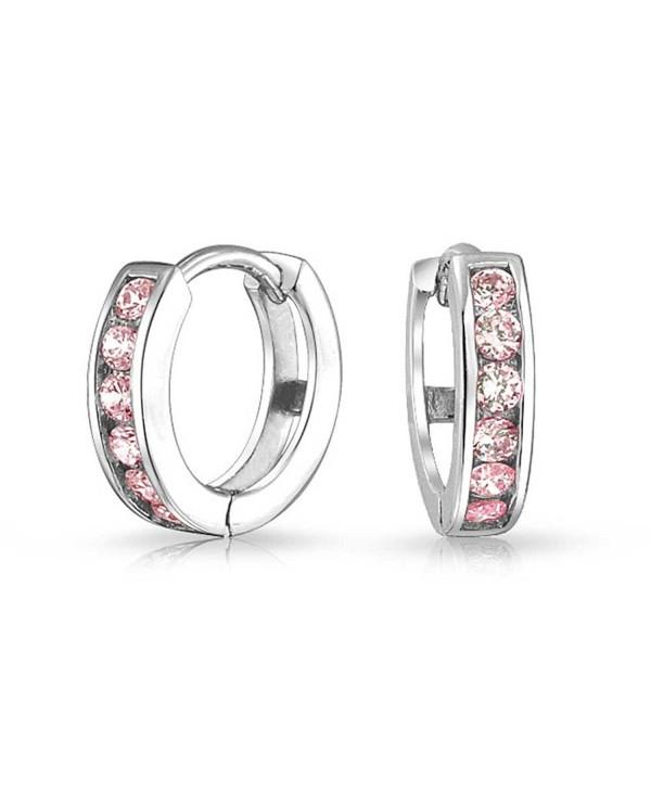Bling Jewelry Simulated Pink Topaz CZ Sterling Silver Huggie Hoop Earrings - C511I35UEKH